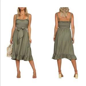 Dresses & Skirts - Ruffle Midi Flared Dress Tie Waist Dress